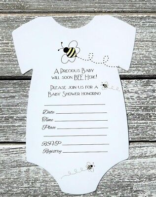10 Bumble Bee Themed Baby Shower Invitations with Envelopes - Fill In