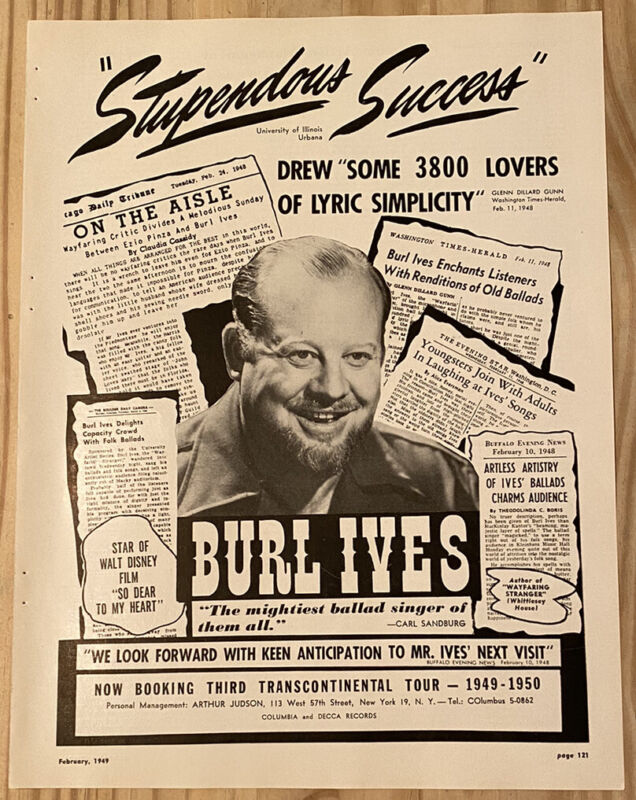 Burl Ives Authentic Vintage 1949 Booking Print Ad Columbia and Decca Records