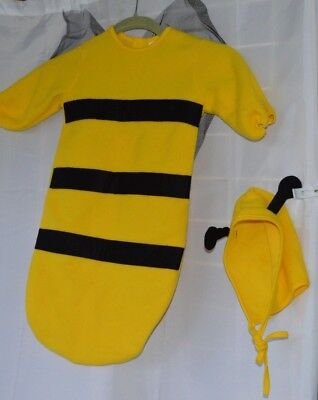 Infant BumbleBee Costume Fleece Yellow & Black Hood Tulle Wings Comfy Soft 0-9 m