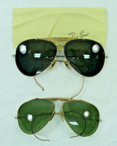 2- B&L Ray Ban Aviator Sun Glasses Bullet Hole Gold Frame Dark Lens Green Lens