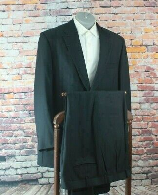 STATEMENTS Black Striped 2 Button Poly Blend Suit 46L Pleated Fronts 42