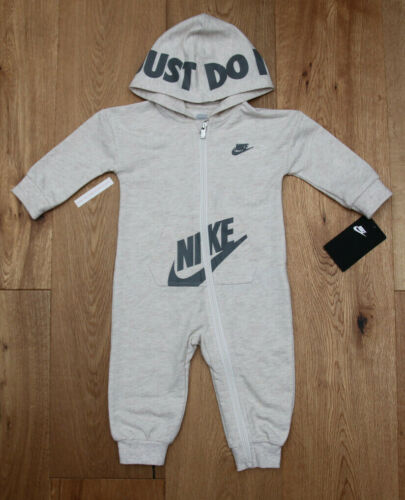 Nike Baby Boy Hooded Coverall ~ Pale Ivory Heather & Gray ~