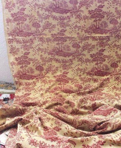Antique c1810-20 BlockPrinted Yellow Cotton Country French Toile de Jouy Fabric