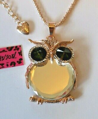 NEW! Betsey Johnson Crystal Rhinestone Mirror Owl Necklace