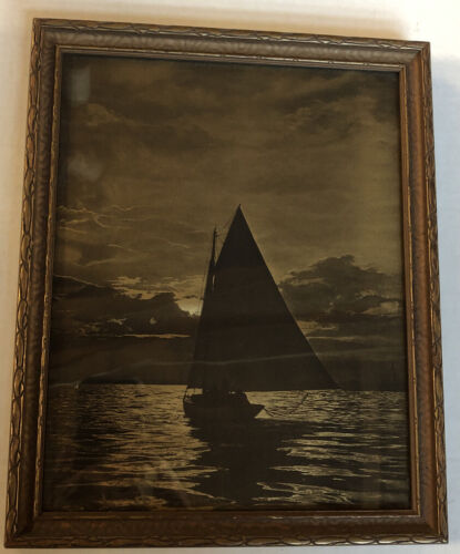 Gold Orotone Photographic Print 1920 s Sailboat On Water Incredible Detail  - $100.00