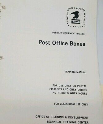 US Post Office Training Manual Post Office Boxes Installation Combinations Maint