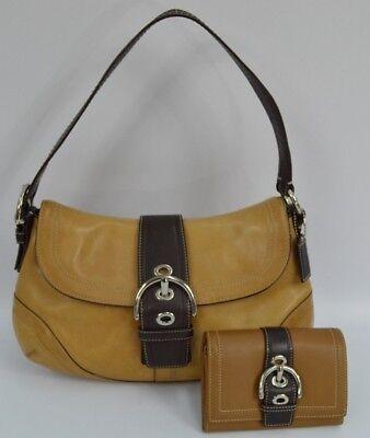 Buckle Flap Bag (Coach Buckle Flap Purse F10910 Tan Camel Leather Shoulder Bag & Matching Wallet)