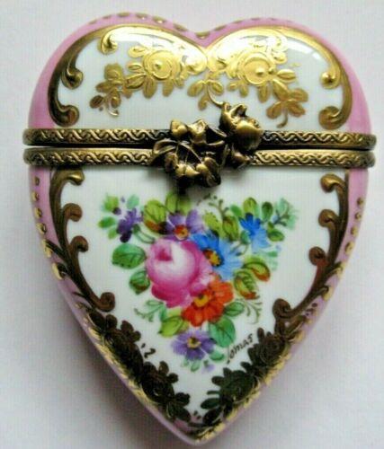 Peint Main Limoges Trinket-Pink Heart Box