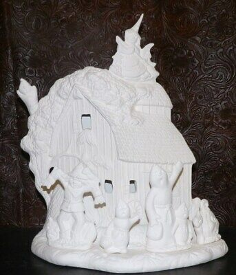 BARN Scene with HALLOWEEN Ghost, Witch Scarecrow Ceramic Bisque Ready to Paint](Witch Scarecrow)