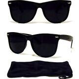Dark Black Sunglasses Retro Aviator Style Frame with Dark Lens NEW! FREE CASE