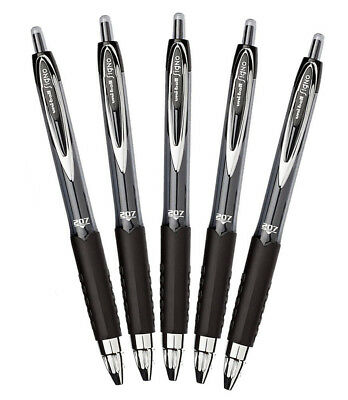 Uni-ball Signo 207 Retractable Gel Pen 0.7mm Medium Point Black Pack Of 5 New