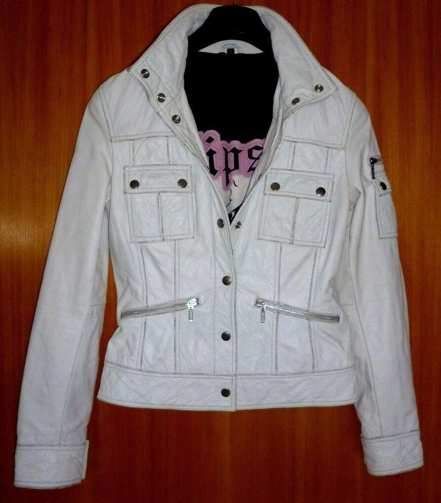 robuste Damen Lederjacke von Gipsy, weiß mit Stehkragen Größe S frisch gereinigt