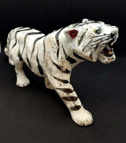 Vintage White Tiger Ceramic Figurine Accented With Gold Made In Japan 1950