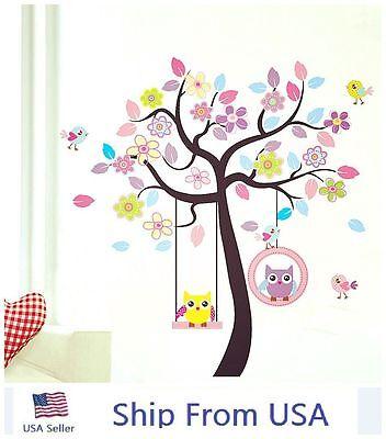 Cute Owls Bird Swing Flower Tree Wall Stickers Removable Kids Nursery Decor Art