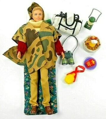 Barbie Ken Doll Dressed With Camping Gear Coleman Lantern Sleeping Bag Food Etc