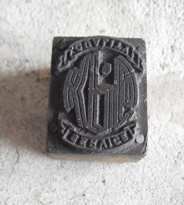 Vintage Kpc Qualtiy Service Wood Metal Letterpress Print Block Stamp