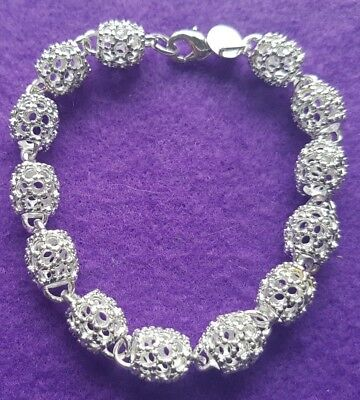 925 Silver Plated Hollow Patterned Linked Bead Bracelet + Free Gift Bag
