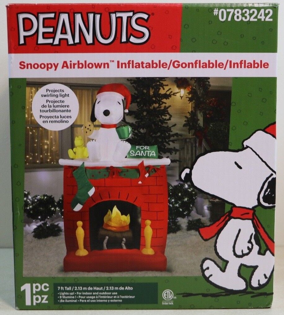 7' Gemmy Peanuts Snoopy Fireplace Swirling Light Christmas Airblown Inflatable