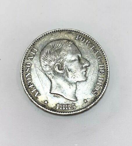 1885 Philippines Alfonso XII 50c De Peso Silver