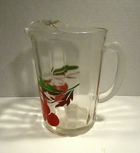 Vintage Anchor Hocking Juice Pitcher with Ice Lip Cherries