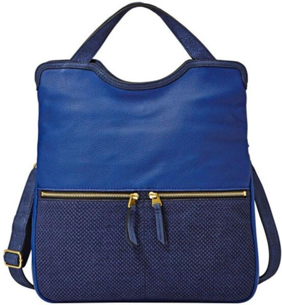 FOSSIL ERIN FOLD OVER ROYAL NAVY BLUE LEATHER CONVERTIBLE BAG