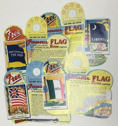 RARE HIRES ROOT BEER CARTON SODA ADVERTISING AMERICAN FLAG BOTTLE TOPPER LOT (4)