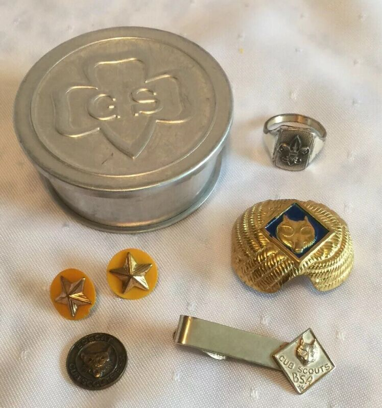 Vintage BOY SCOUTS & GRL SCOUTS Lot TRAVEL CUP, PINS, STERLING RING, SLIDE, CLIP