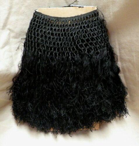 """120"""" Antique Victorian Black Crochet Lace & Fringe Trim"""