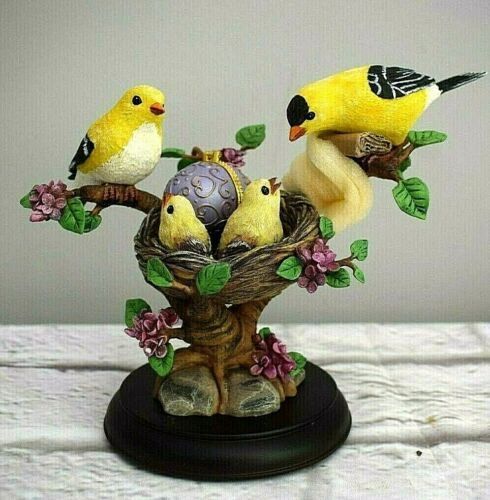 Charming Golden Splendor Goldfinch Sculpture Bradford Exchange Limoges Style Egg