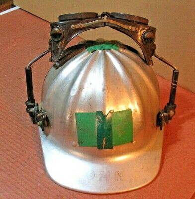 Vintage Superlite Usa Aluminum Welder Hard Hat Attached Welders Goggles