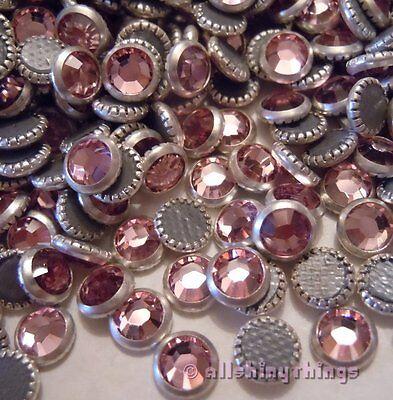 144 pc. SWAROVSKI Crystal LIGHT ROSE w/Silver Rim HOTFIX Rhinestones 16ss #2029