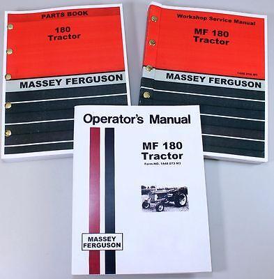 - SET MASSEY FERGUSON MF 180 TRACTOR SERVICE REPAIR OWNERS OPERATORS PARTS MANUALS