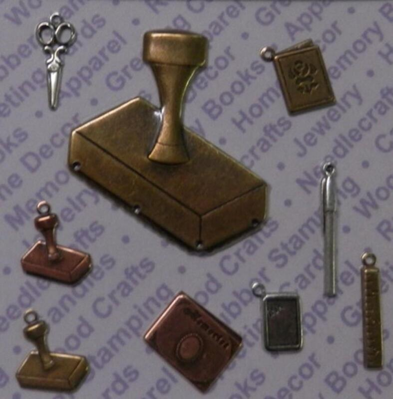 93889           Mixed Color Stamping Jewelry Charms/ Findings / Blister Card x 2
