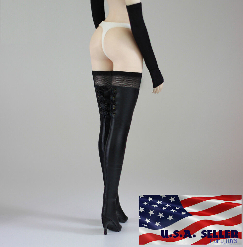 """1/6 Women Over The Knee High Heel Black Boots For 12"""" Hot To"""