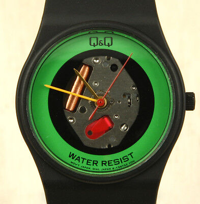 Q Q  Citizen  Vintage Green Skeleton Watch 32Mm Made In Japan New Old Stock