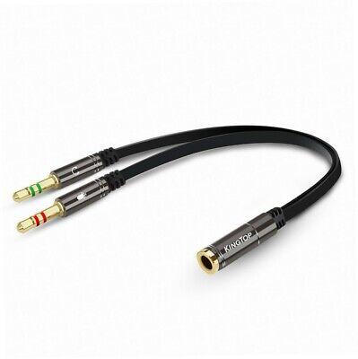 KingTop 3.5mm Splitter Adapter Kabel Kopfhörer und Mikro 2 in 1 Adapter Audio... (Headset-splitter-adapter)