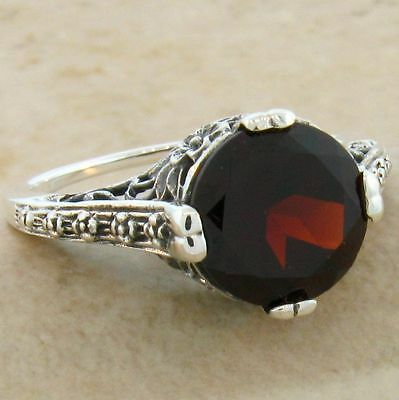 3 CT. GENUINE GARNET ANIQUE DESIGN 925 STERLING SILVER RING,              #554 Design Garnet Ring
