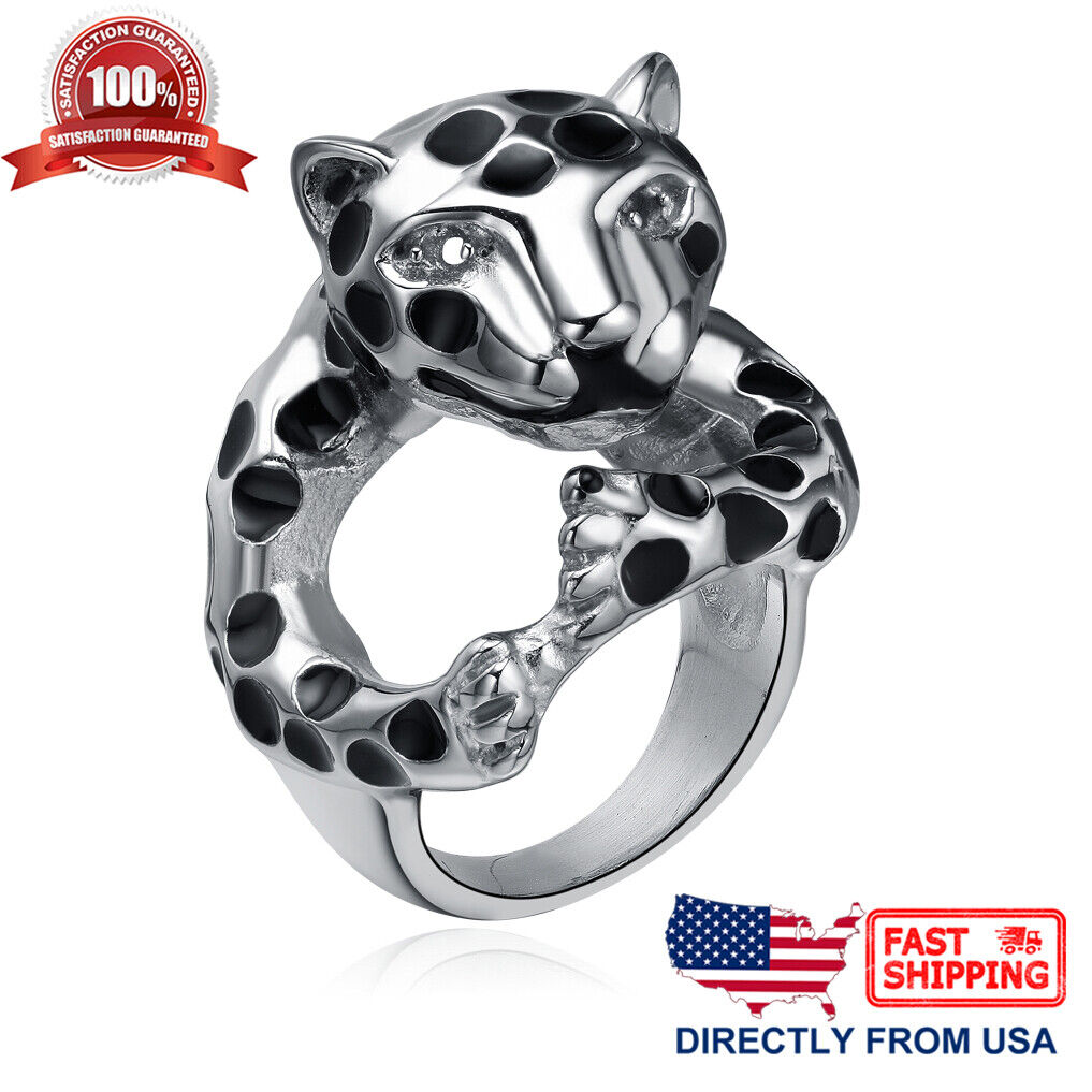 Men's Stainless Steel Biker Halloween Leopard Ring (Size 6 to 9, US Seller) Jewelry & Watches