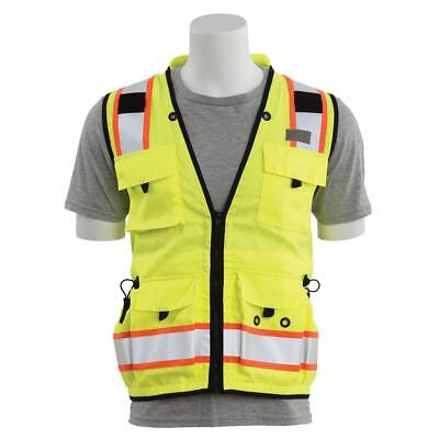 Erb Heavy Duty Class 2 Reflective Surveyor Safety Vest With Pockets Yellowlime