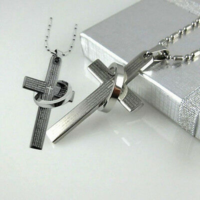 (Bible Cross Ring Stainless Steel Pendant Necklace Fashion Religious US SELLER!)