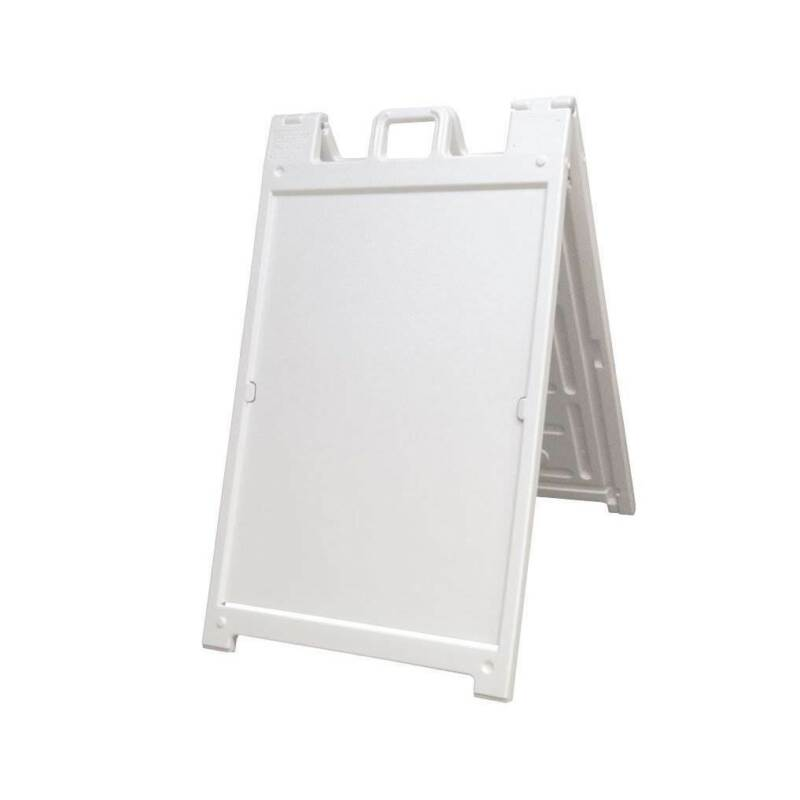 Plasticade Deluxe Signicade Folding Double Sided Sign Stand, White (Used)