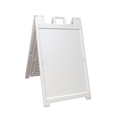 Plasticade Deluxe Signicade Portable Folding Double Sided Sign Stand White