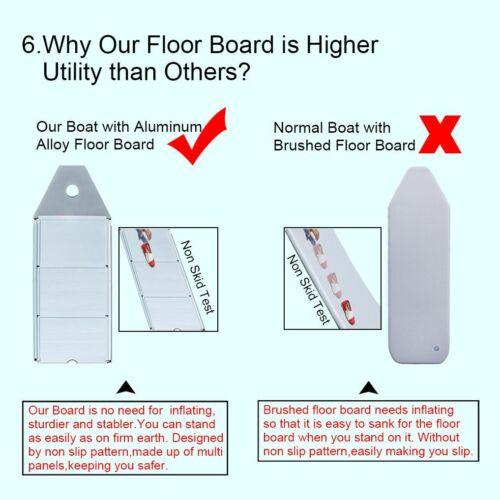 AS Dinghy Raft Kayak Aluminum Floorboard 2 Oars 9.8ft Gray