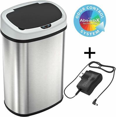 Sensor Trash Can W/ Power Adapter 13 Gal Automatic Stainless Steel For Kitchen