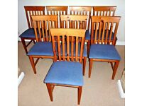 Set of 8x Dining Chairs Light wood Upholstered in blue material