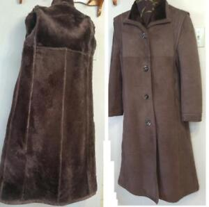 Oakville  Rare 8 - 10 Ladies 100% Real Sheepskin Shearling Coat Full Length Medium M Dark Brown Vintage Retro Canada