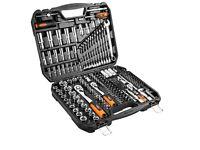 NEO 219pc 1/2 3/8 1/4 Socket Set Ratchet Driver Kit Screwdriver Bit Tool Box