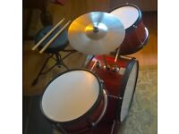 Kids used drum kit, drum stool and drumsticks for sale