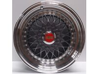 """BRAND NEW 15"""" BBS RS Alloy Wheels Grey Replica 4x100/108 with Centre Caps"""
