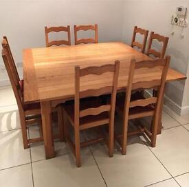 Rustic solid Oak Dining Table and Chairs